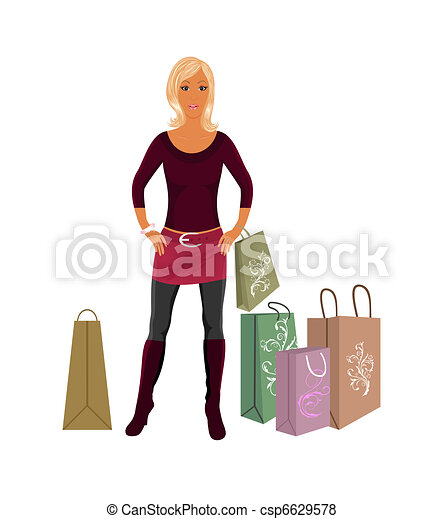 fashion shopping girl with bags - csp6629578