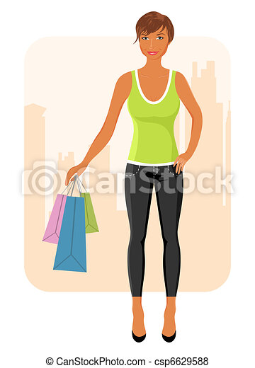girl with purchases goes around city - csp6629588