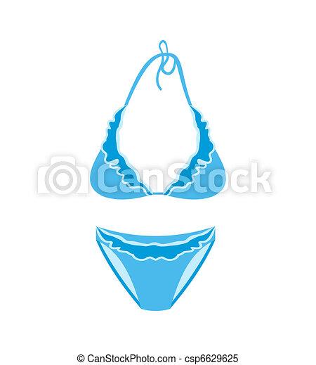 Vecteur clipart de bleu femme maillot de bain isol illustration bleu csp6629625 - Dessin de maillot de bain ...