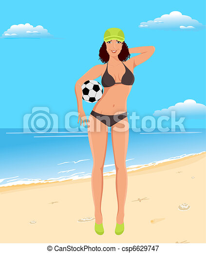 active girl with ball on beach - csp6629747