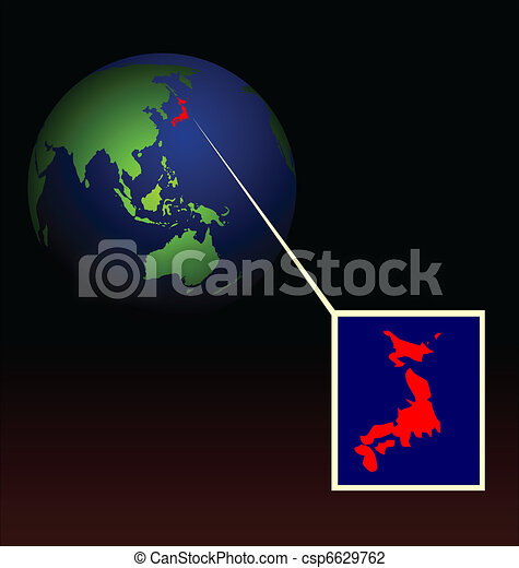 Illustration of global radioactive biohazard after damage on nuclear station in Japan - vector - csp6629762