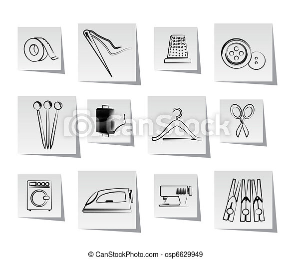Textile objects and industry icons - csp6629949