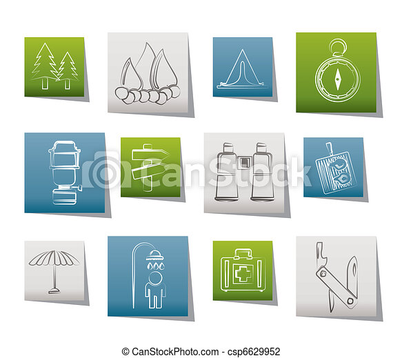 Camping, travel and Tourism icons  - csp6629952