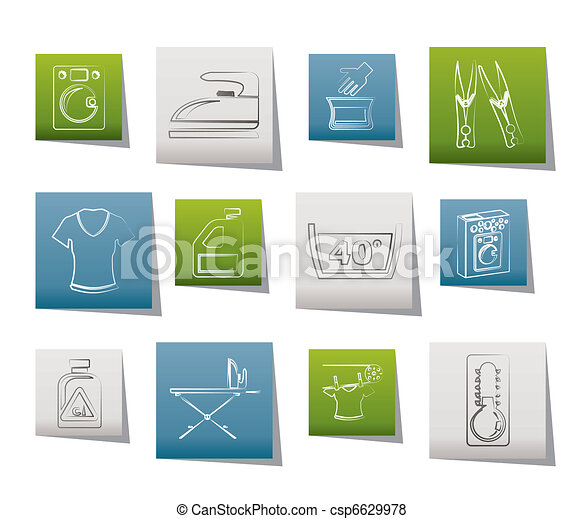 Washing machine and laundry icons  - csp6629978