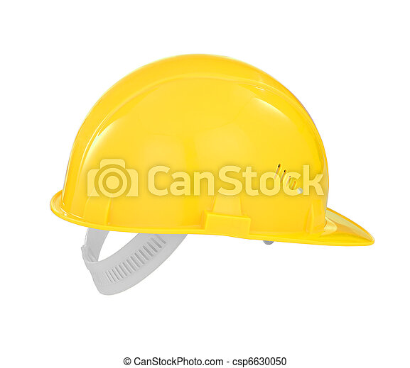 Yellow safety builder hard hat isolated with  included - csp6630050
