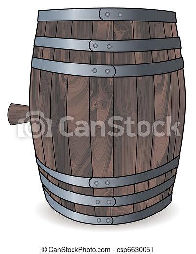 wooden barrel with metal hoops  - csp6630051