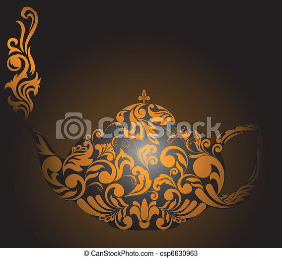 Teapot with golden ornaments - csp6630963