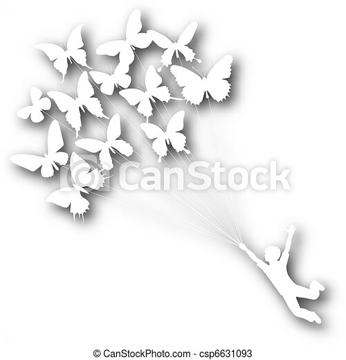 Butterfly boy cutout - csp6631093