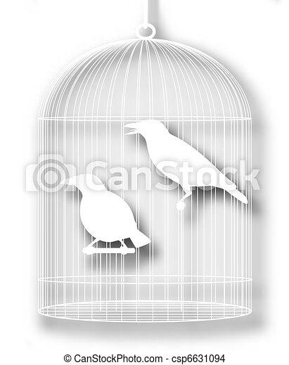 Caged birds cutout - csp6631094
