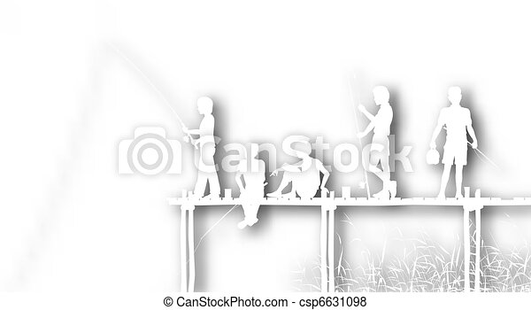 Cutout fishing kids - csp6631098