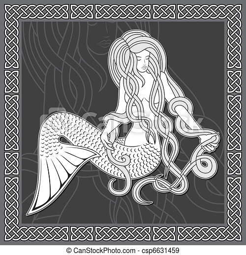 Mermaid with celtic border - csp6631459