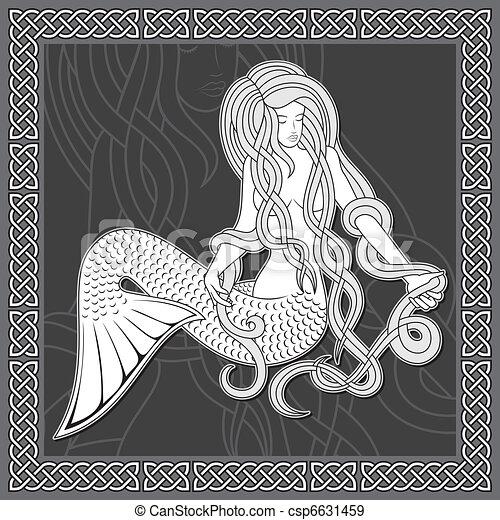 Mermaid with celtic border - csp6631459