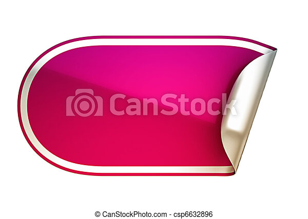 Pink rounded bent sticker or label - csp6632896