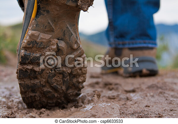 Muddy Hiking Boots - csp6633533