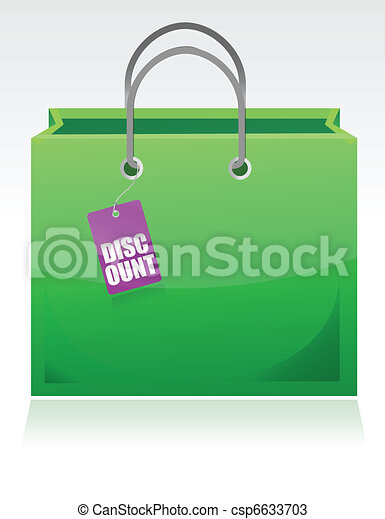Shopping bag with a discount tag  - csp6633703