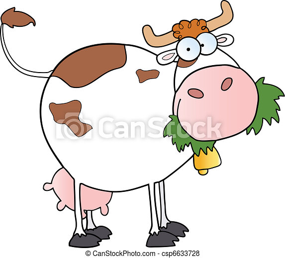 White Dairy Cow Cartoon Character - csp6633728