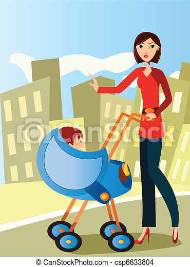 mom with baby stroller - csp6633804