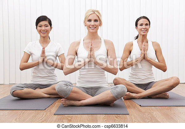 Interracial Group of Three Beautiful Women In Yoga Position - csp6633814