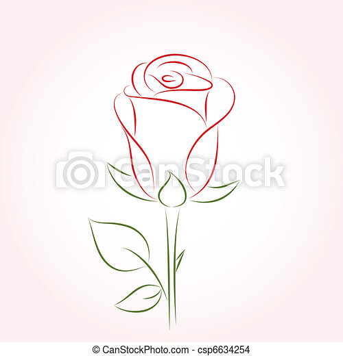 Eps Vector Of Single Red Rose On A Pink Background Csp6634254 Search Clip Art Illustration