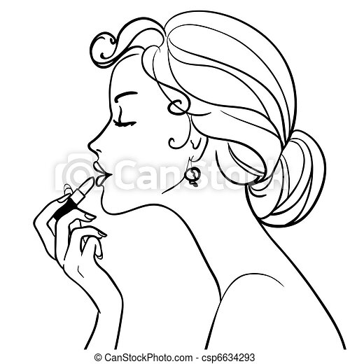 girl with lipstick - csp6634293