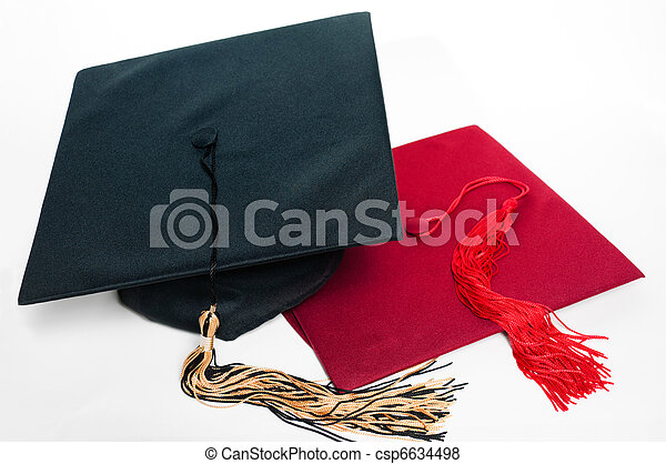 Black and red graduation caps with tassels. - csp6634498