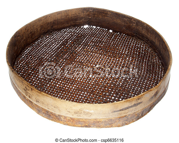 Stock Image of old wooden sieve isolated on white ...