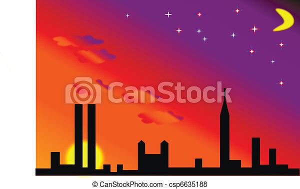 Drawing of city sunrise sunset illustration - dark city with sun ...