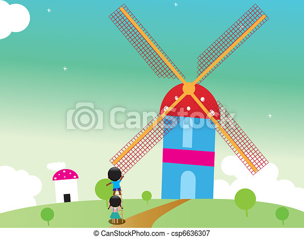 Kids rotating windmill  - csp6636307