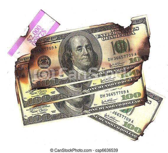 100 dollar bills burned financial loss recession depression risk - csp6636539
