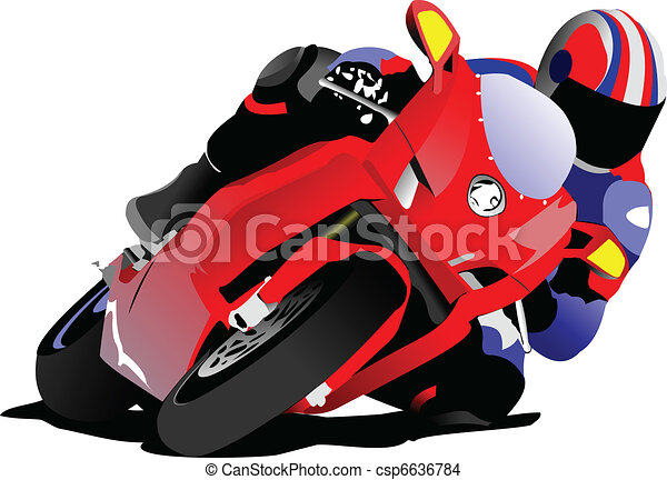 Biker on the road. Vector illustra - csp6636784