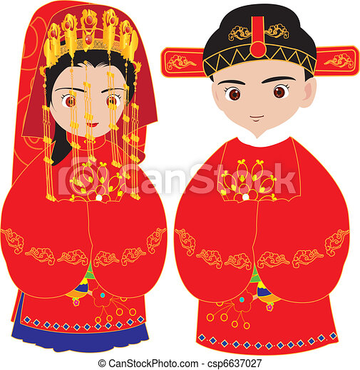 Chinese wedding, marriage ceremony - csp6637027