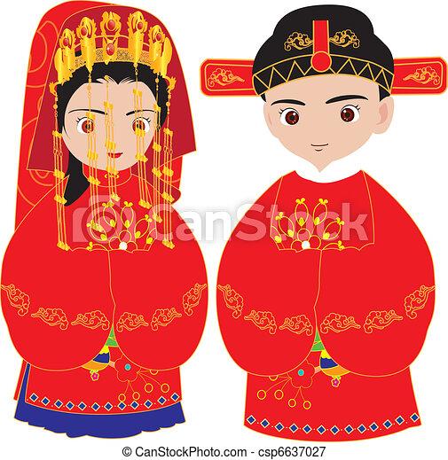 Chinese wedding, marriage ceremony - csp6637027