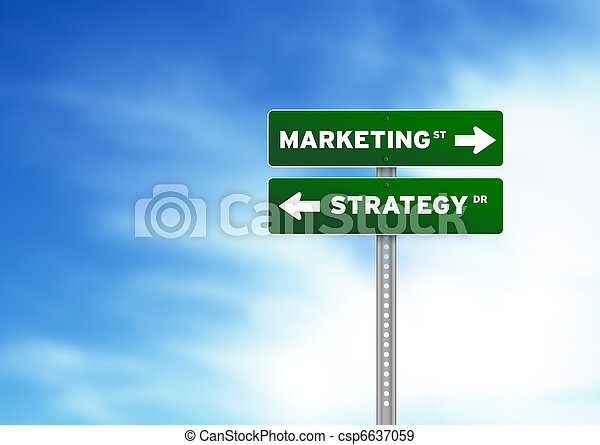 Marketing and Strategy Road Sign - csp6637059