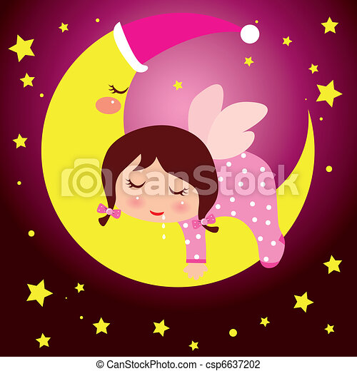 little girl dreaming in the moon - csp6637202