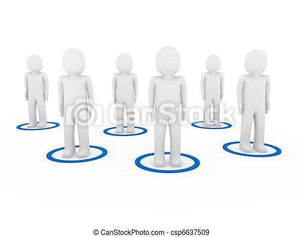 3d men teamwork network  - csp6637509