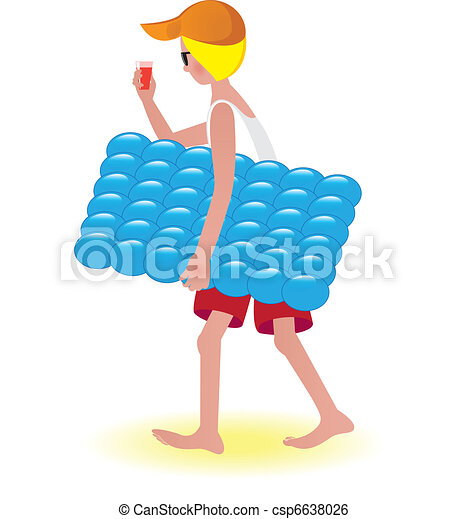 Boy on air mattress - csp6638026