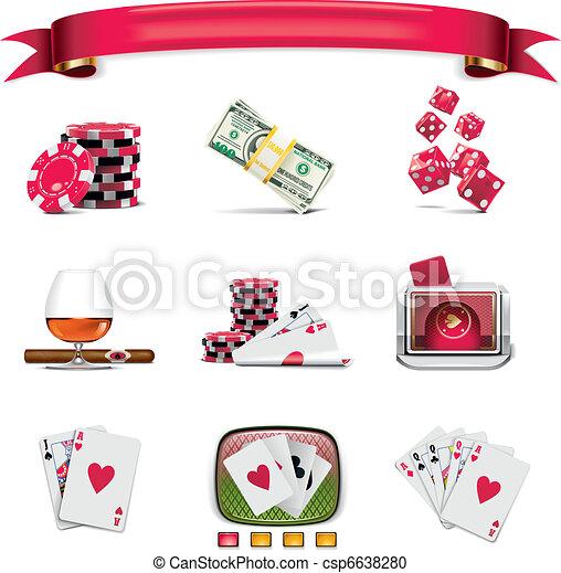 Vector gambling icon set. P.1(w) - csp6638280