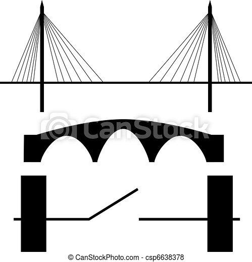Bridge silhouette vector - csp6638378