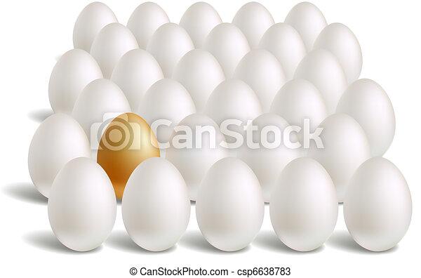 white & unique gold eggs rows - csp6638783