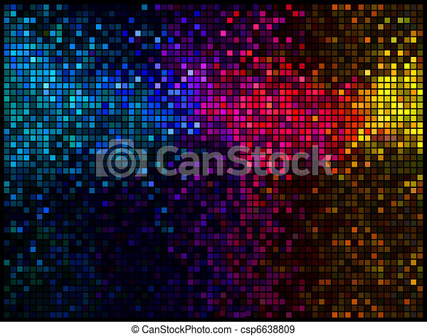Multicolor abstract lights disco background. Square pixel mosaic vector - csp6638809