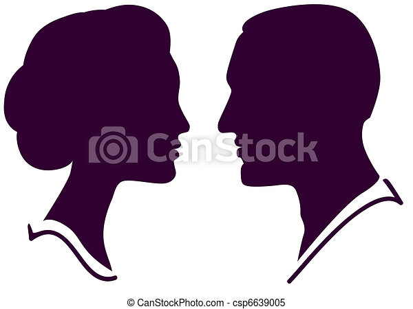 man and woman face profile, vector male female couple - csp6639005