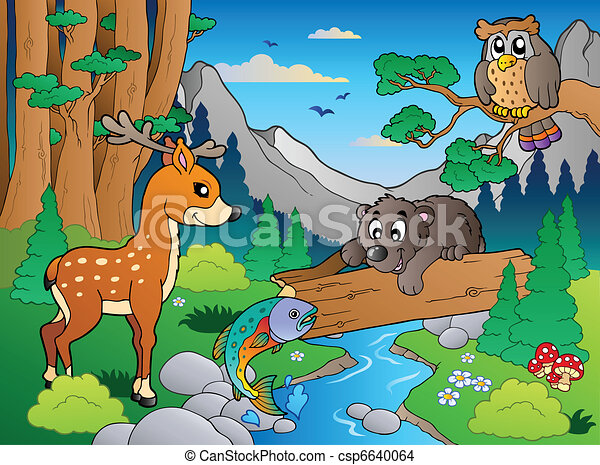 Eps vector of forest scene with various animals 1 vector for Forest scene drawing