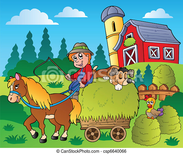 Country scene with red barn 9 - csp6640066