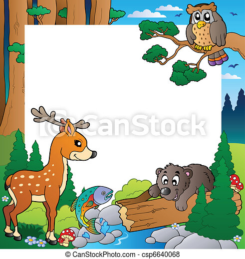 Frame with forest theme 1 - csp6640068