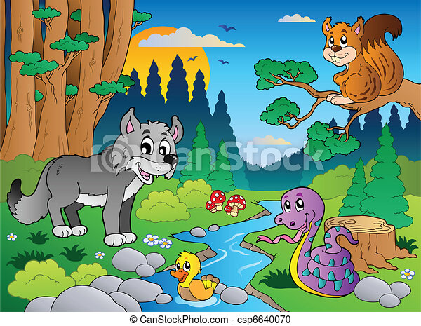 Forest scene with various animals 5 - csp6640070