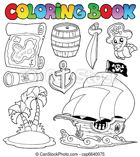 Coloring book with pirate objects - csp6640075