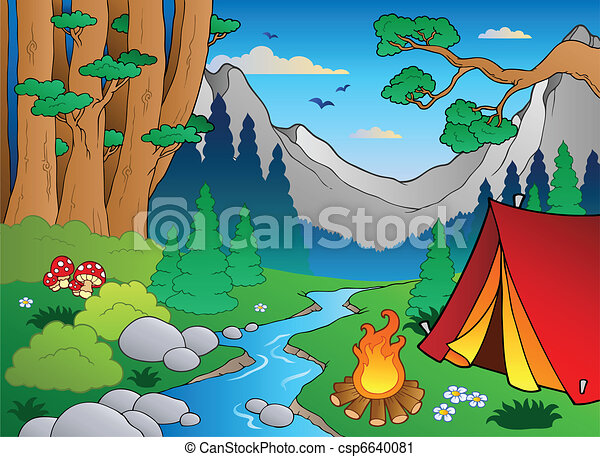 Vector Clip Art de caricatura, bosque, paisaje, 4, -, vector ...