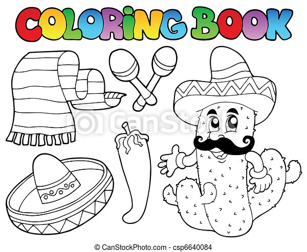 Coloring book with Mexican theme 2 - csp6640084