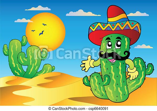 Desert scene with Mexican cactus - csp6640091