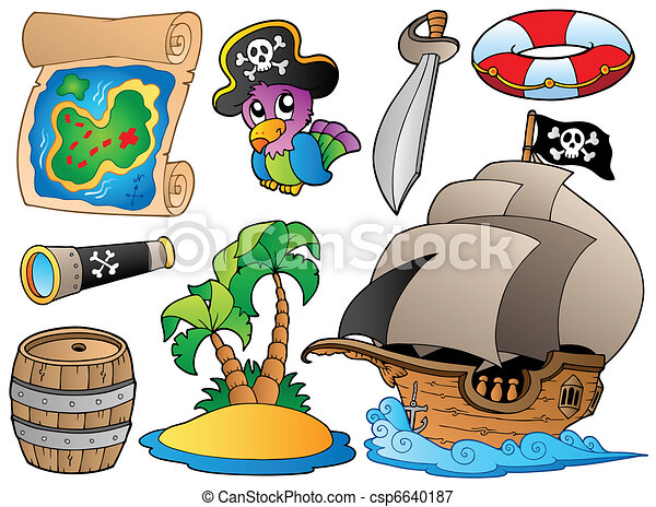 Set of various pirate objects - csp6640187
